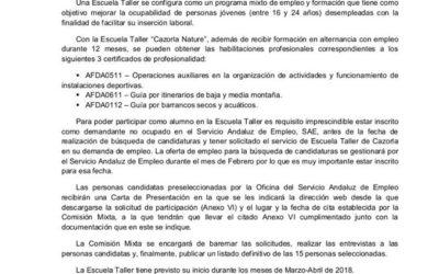 Carta Informativa Escuela Taller de Cazorla